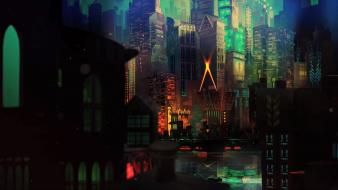 Paintings video games lights artwork supergiant cities transistor wallpaper