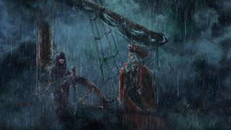 Rain ships fantasy art artwork steering wheel wallpaper