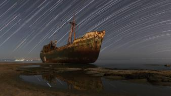 Ships night sky wallpaper