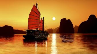 Silhouette rocks viet nam boats seascapes reflections wallpaper