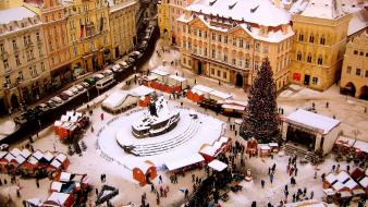 Snow cityscapes europe christmas prague wallpaper