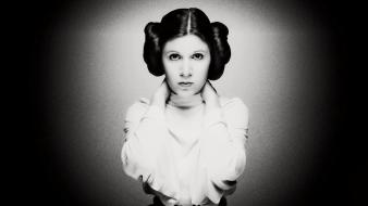 Star wars carrie fisher leia organa monochrome wallpaper