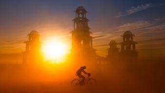Sun bicycles silhouette buildings dust sunlight wallpaper