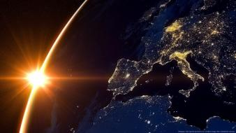 Sun outer space earth europe wallpaper