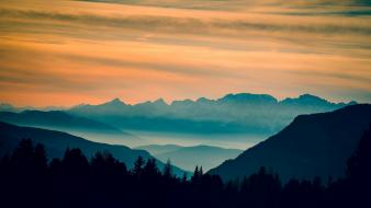 Sunset mountains landscapes wallpaper