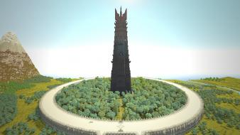 The lord of rings minecraft orthanc isengard wallpaper