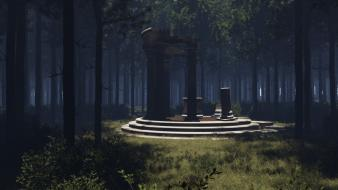 Trees forest temples artwork 3d Wallpaper