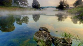 Water steam landscapes nature stones reservoir morning arch wallpaper