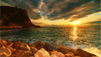 Water sunset ocean clouds landscapes nature cliff wallpaper