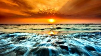 Water sunset ocean landscapes wallpaper