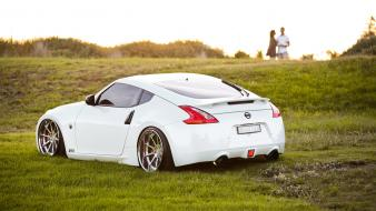 White cars outdoors nissan fairlady z34 370z stance Wallpaper