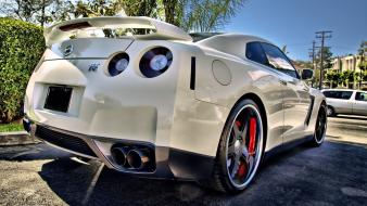 White cars vehicles nissan gtr spec-v wallpaper