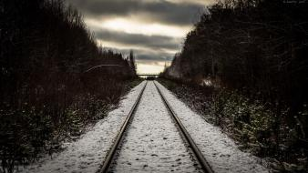 Winter snow railroad tracks wallpaper