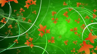 Abstract patterns orange flowers wallpaper