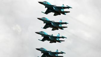 Aircraft aviation su-34 russian air force formation flying wallpaper