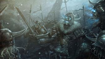 Art skeletons battles artwork warriors swords fan wallpaper