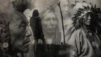 Black and white artwork native americans Wallpaper