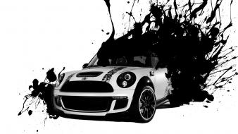 Black and white mini cooper splashes wallpaper