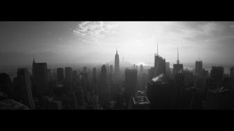 City manhattan empire state building panorama cities wallpaper