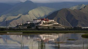 Cityscapes buildings tibet reflections potala palace wallpaper