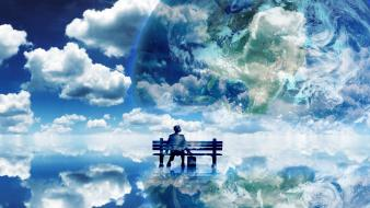 Clouds bench fantasy art wallpaper