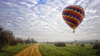 Clouds landscapes balloons wallpaper