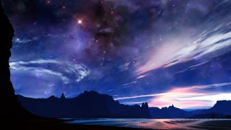 Desert digital art artwork sky starry skies wallpaper