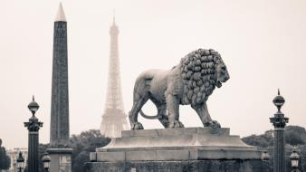 Eiffel tower paris france statues lions wallpaper