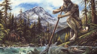 Fantasy art calendar salmon werewolves Wallpaper