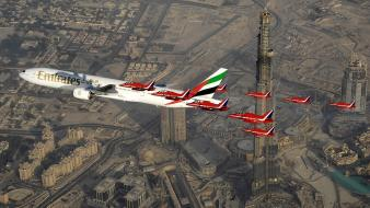 Force burj khalifa formation flying boeing 777 wallpaper