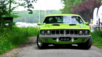 Green cars vehicles barracuda plymouth Wallpaper