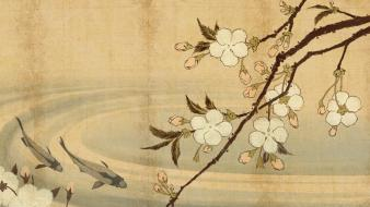 Japan fish sakura ponds blossoms artwork wallpaper