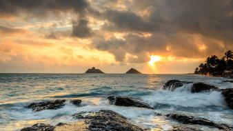 Landscapes nature beach rocks hawaii kailua 2013 wallpaper
