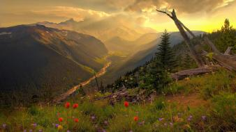 Mountains clouds landscapes nature flowers upscaled wallpaper