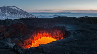 Mountains clouds landscapes volcanoes lava russia holes magma wallpaper