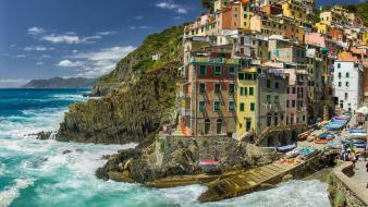 Mountains landscapes coast europe villages italia sea wallpaper
