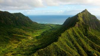 Mountains landscapes nature hills valleys oahu sea wallpaper