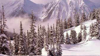 Mountains landscapes nature winter snow shadows wallpaper