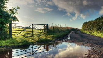 Nature roads puddles village wallpaper