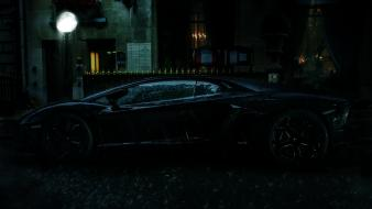 Night rain cars lamborghini aventador wallpaper