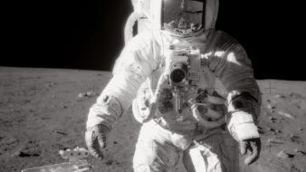 Outer space moon astronauts wallpaper