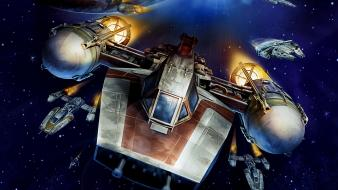 Star wars outer space spaceships millenium falcon y-wing wallpaper