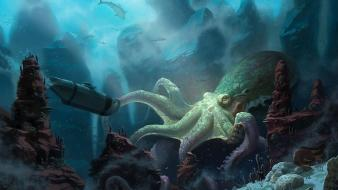 Submarine octopus fantasy art artwork underwater wallpaper