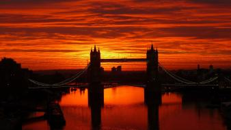 Sunset cityscapes london tower bridge rivers wallpaper