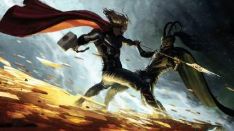 Thor fantasy art loki avengers vs wallpaper