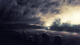 War waves graves skies wallpaper