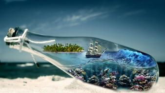 Waves storm bottles islands underwater corals beach Wallpaper