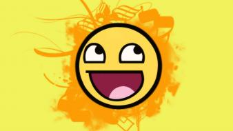 Yellow funny smiley face smiling awesome wallpaper