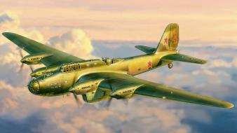 Aircraft military bomber soviet artwork pe-8 Wallpaper