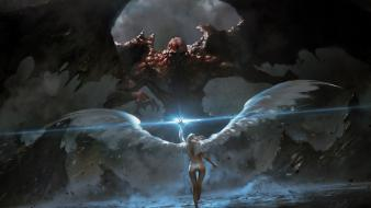 Angels fighting demons fantasy art angel wings demon wallpaper